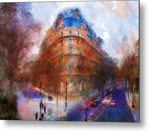 London Metal Print featuring the mixed media London Central by Marilyn Sholin