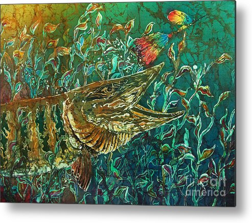 Batik Metal Print featuring the tapestry - textile Musky- Chasin by Sue Duda