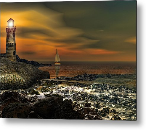 Lighthouse Metal Print featuring the photograph Nocturnal Tranquility by Lourry Legarde