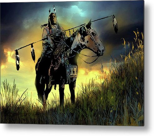 Native Americans Metal Print featuring the painting The Last Ride by Paul Sachtleben