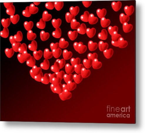 Wallpaper Metal Print featuring the digital art Fountain Of Love Hearts by Kiril Stanchev