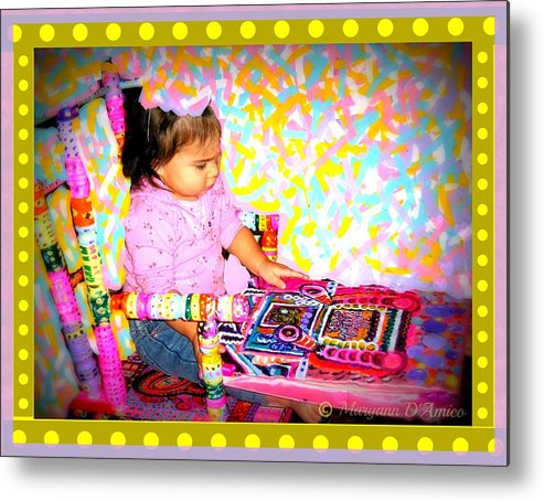 Child In A Rocking Chair Print Metal Print featuring the painting Princess Bella In The Original Magical Rocking Chair by Maryann DAmico
