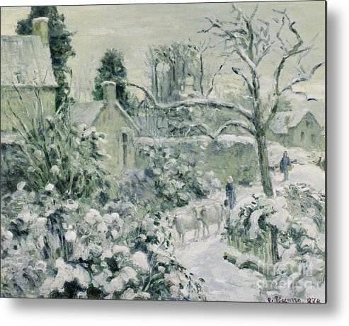 Effect Metal Print featuring the painting Effect Of Snow With Cows At Montfoucault by Camille Pissarro