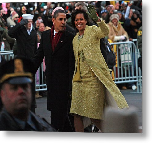 Inaugural Parade Metal Print featuring the photograph First Couple Walking by Charlie Parker