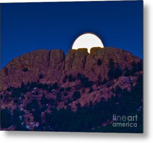 Moon Metal Print featuring the photograph Moon Setting Behind Horsetooth Rock by Harry Strharsky