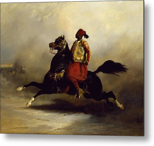 Nubian Metal Print featuring the painting Nubian Horseman At The Gallop by Alfred Dedreux or de Dreux