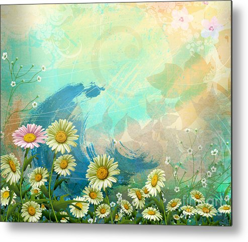 Daisy Metal Print featuring the digital art One Pink Daisy by Bedros Awak