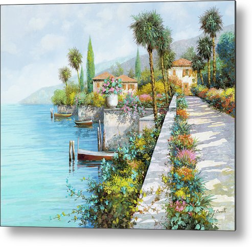 Lake Metal Print featuring the painting Lungolago by Guido Borelli