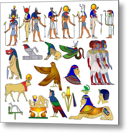 Africa Metal Print featuring the drawing Various Themes Of Ancient Egypt by Michal Boubin