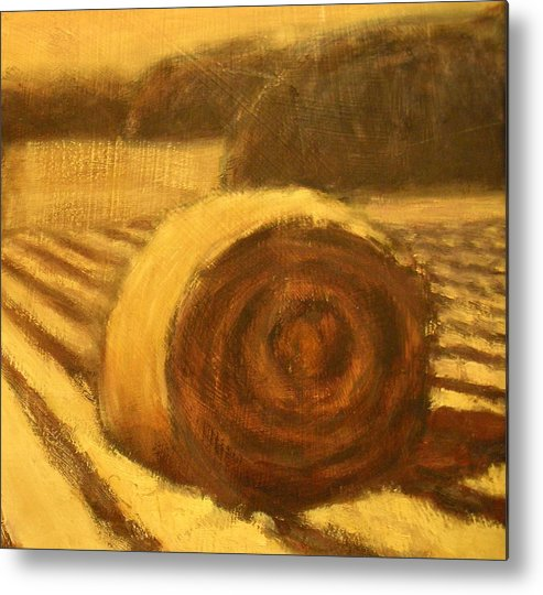 Art Sale Metal Print featuring the painting Morning Haybale by Jaylynn Johnson