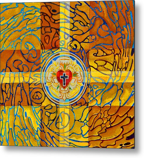 Christian Metal Print featuring the painting Psychedelic Rose by Mark Jennings