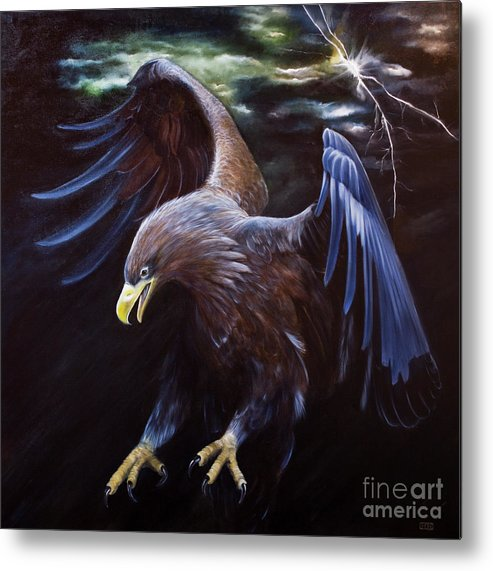 Eagle Metal Print featuring the painting Thunder by Julie Bond