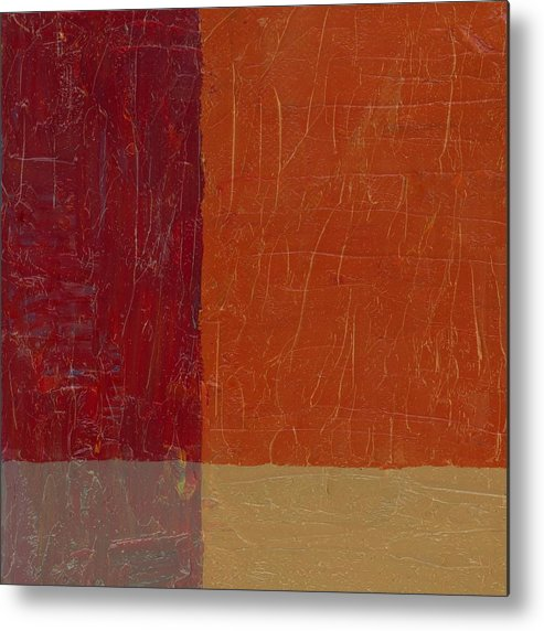 Abstract Metal Print featuring the painting Bricks And Reds by Michelle Calkins