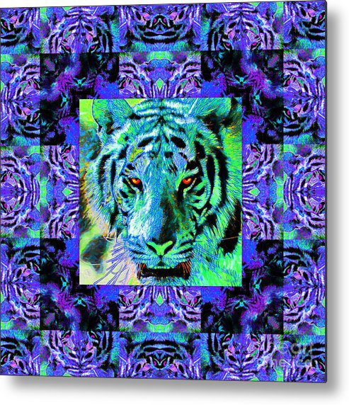 Tiger Metal Print featuring the photograph Eyes Of The Bengal Tiger Abstract Window 20130205m80 by Wingsdomain Art and Photography