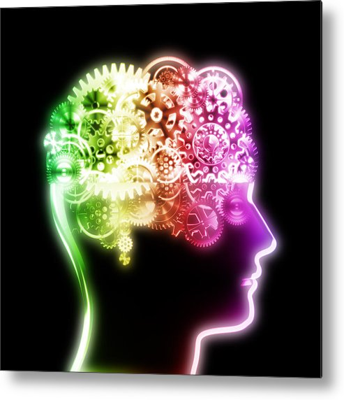 Art Metal Print featuring the photograph Brain Design By Cogs And Gears by Setsiri Silapasuwanchai