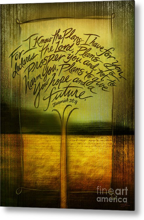 Jeremiah 29:11 Metal Print featuring the mixed media God's Plans by Shevon Johnson