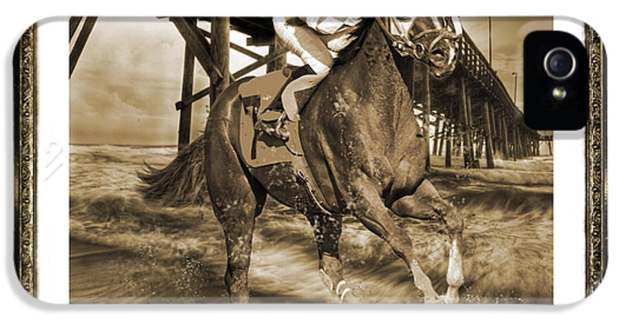 Horse IPhone 5 / 5s Case featuring the digital art And Away We Go by Betsy Knapp