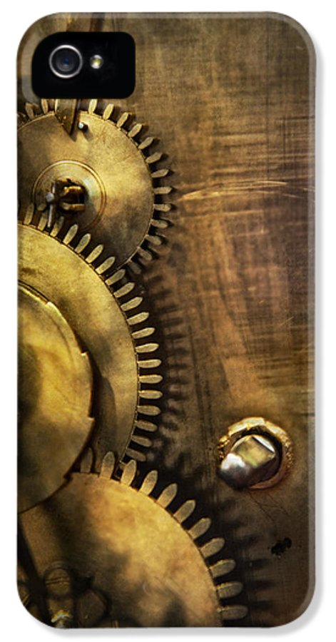 Clock IPhone 5 / 5s Case featuring the photograph Steampunk - Toothy by Mike Savad