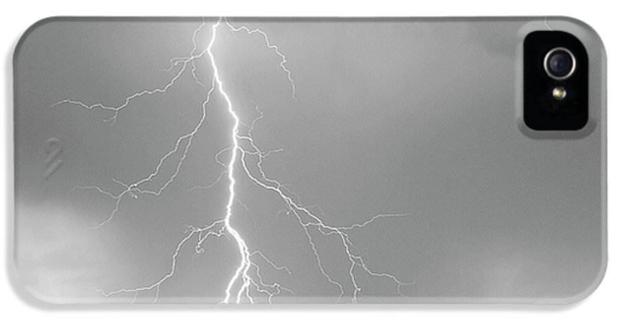 July IPhone 5 / 5s Case featuring the photograph Lightning Strike Colorado Rocky Mountain Foothills Bw by James BO Insogna