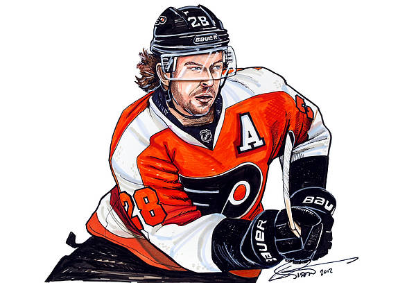 Claude Giroux Poster featuring the drawing Claude Giroux by Dave Olsen
