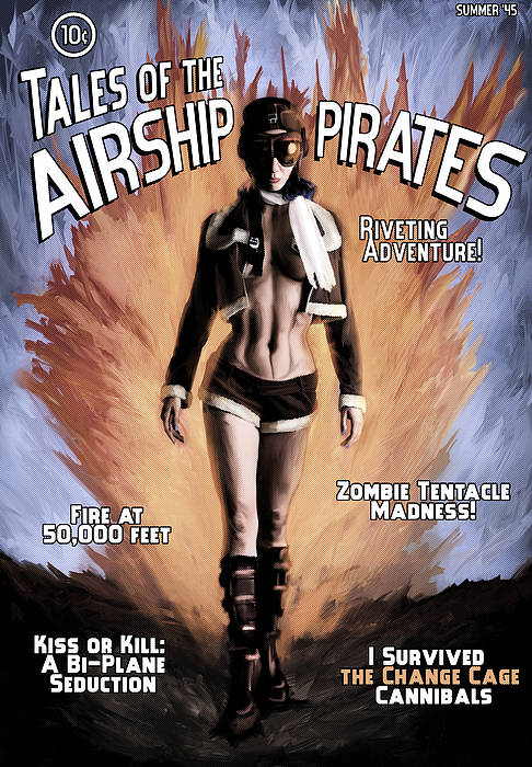 Science Fiction Poster featuring the mixed media Tales Of The Airship Pirates by Mandem