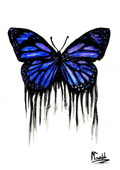 Butterly Poster featuring the painting Butterfly Tears by Mike Grubb