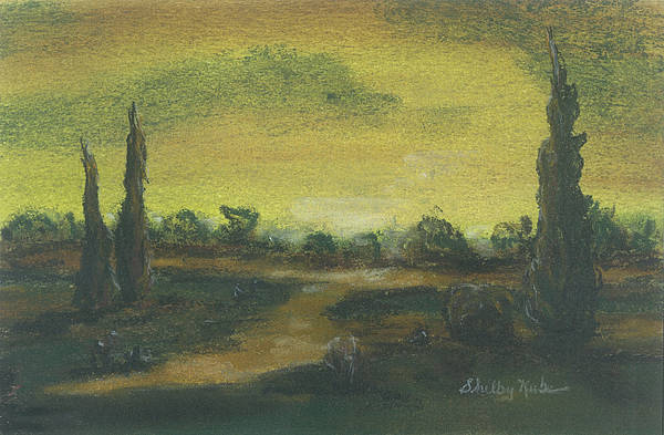Tuscan Poster featuring the pastel Tuscan Dusk 2 by Shelby Kube