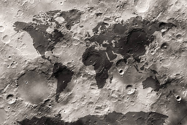 World Map Poster featuring the digital art World Map On The Moon's Surface by Michael Tompsett