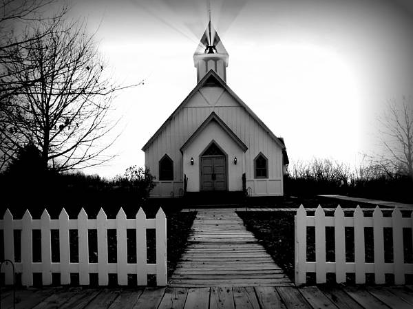 Church Poster featuring the photograph Little Church B And W by Julie Hamilton