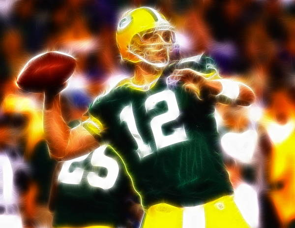 Aaron Rodgers Poster featuring the painting Mystical Aaron Rodgers by Paul Van Scott