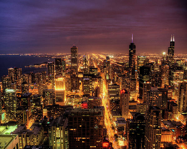 Horizontal Poster featuring the photograph Night Cityscape Of Chicago by Jacob D. Moore