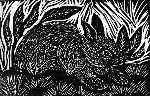 Lino Poster featuring the mixed media Cottontail Block Print by Ellen Miffitt