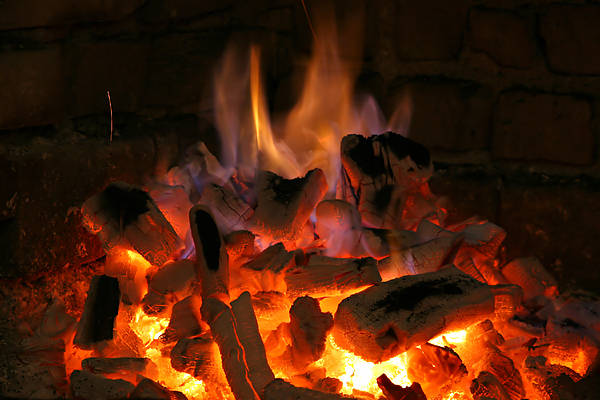 Alternative Poster featuring the photograph Fireplace Flames by Francisco Leitao