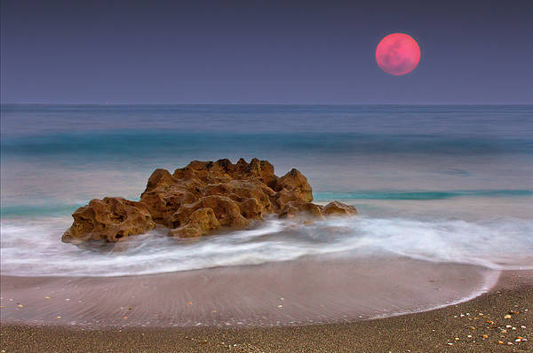 Horizontal Poster featuring the photograph Full Moon Over Ocean And Rocks by Melinda Moore