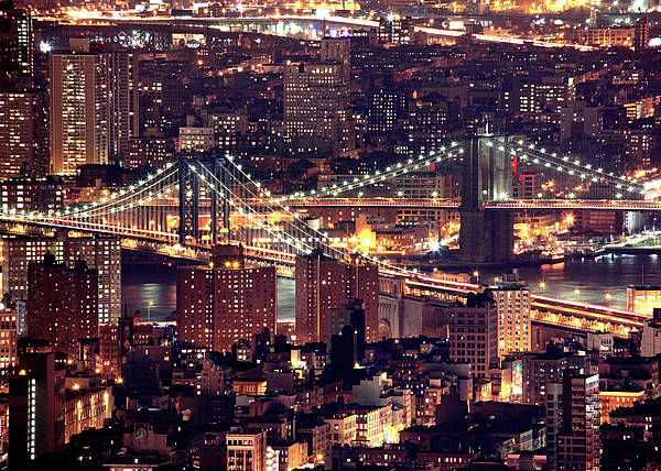 Horizontal Poster featuring the photograph Manhattan And Brooklyn Bridges by Rob Kroenert
