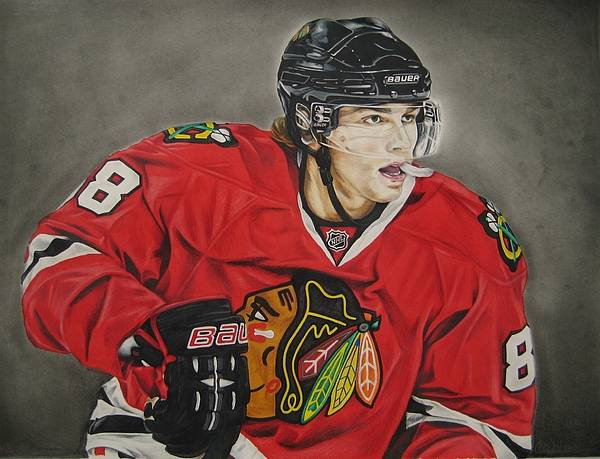 Chicago Poster featuring the drawing Patrick Kane by Brian Schuster