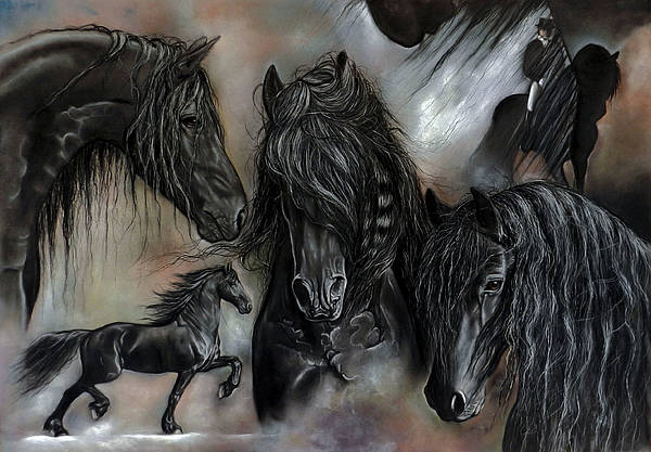 Friesian Poster featuring the painting The Friesians In My Head by Caroline Collinson
