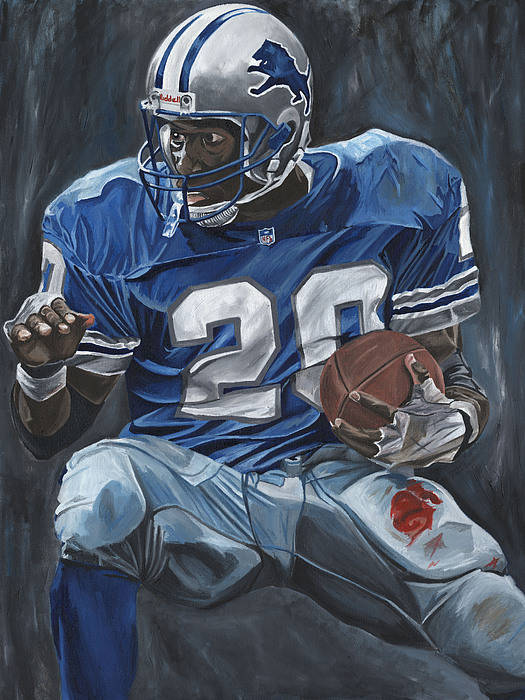 Barry Sanders Detroit Lions Nfl Football Sports Lion David Courson Print featuring the painting The Cutback by David Courson