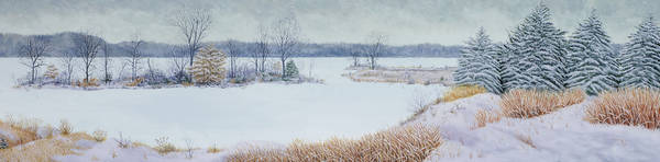 Panorama Print featuring the painting Winter Lake And Cedars by Garry McMichael