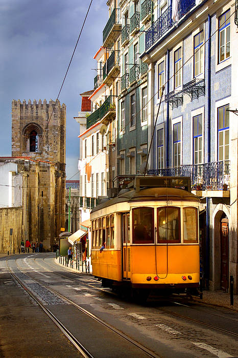 Ancient Print featuring the photograph Lisbon Tram by Carlos Caetano