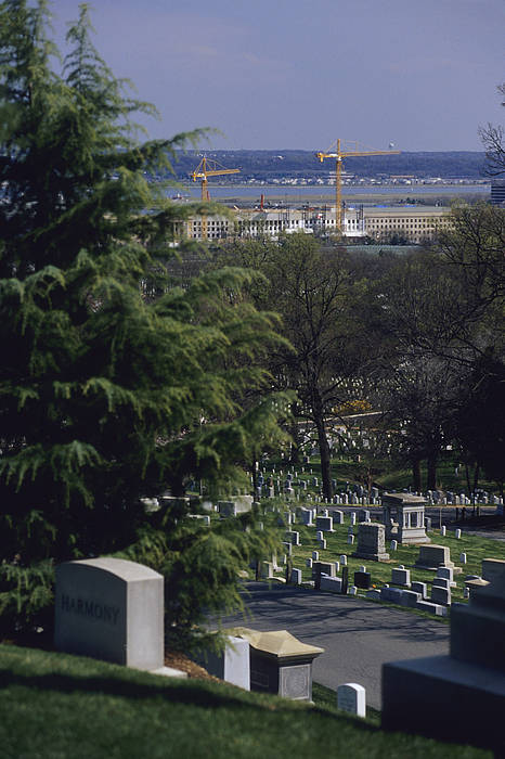 North America Print featuring the photograph The Pentagon Looms Behind Arlington by Raymond Gehman