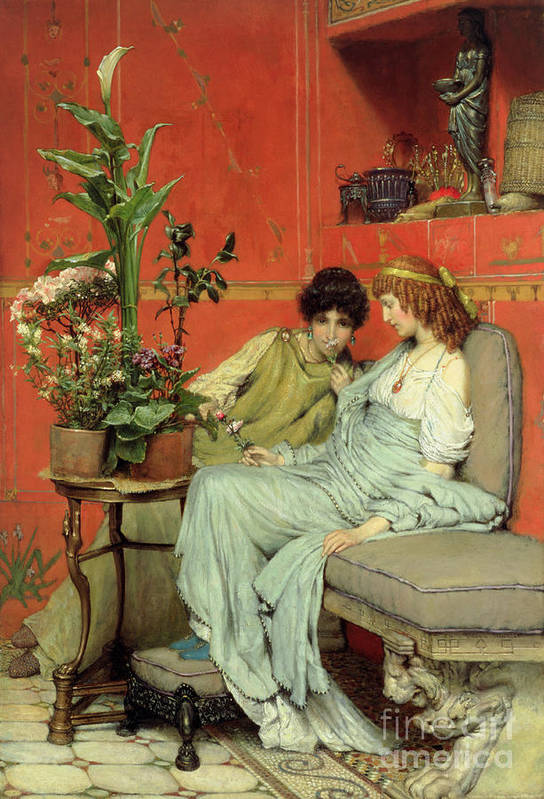 Confidences Print featuring the painting Confidences by Sir Lawrence Alma-Tadema