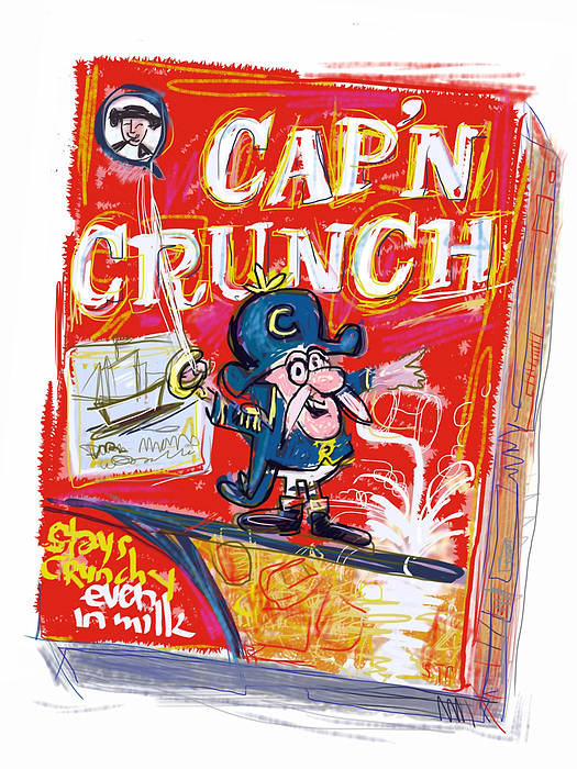 Cap'n Crunch Print featuring the mixed media Capn Crunch by Russell Pierce