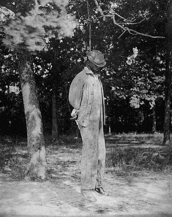 Historical Print featuring the photograph Anonymous African American Lynching by Everett