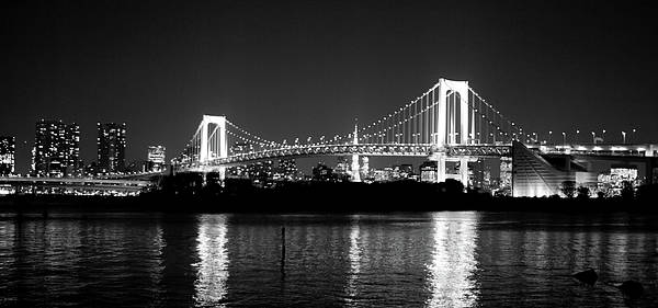 Horizontal Print featuring the photograph Rainbow Bridge At Night by Xkhol