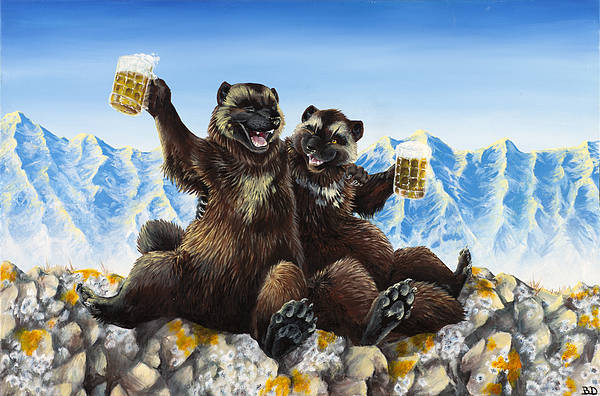 Wolverine Gulo Mountains Beer Drinking Stein Friends Friendship Nature Anthropomorphic Cartoon Animals Wildlife Print featuring the painting I Love You Man by Beth Davies