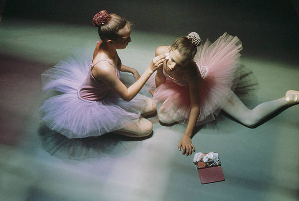 Color Image Print featuring the photograph Ballerinas Get Ready For A Performance by Richard Nowitz