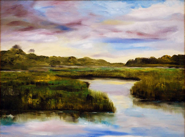 South Carolina Low Country Marsh Print featuring the painting Low Country by Phil Burton