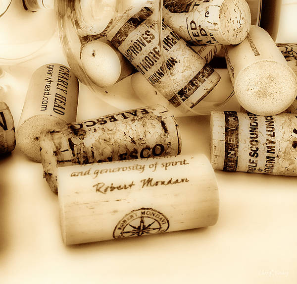 Corks Print featuring the photograph Sepia Corks by Cheryl Young
