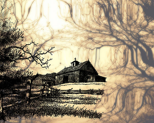 Barns Print featuring the photograph Barn Out Back 2 by Cheryl Young